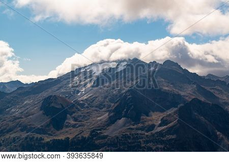 Views Of The Maladetas Massif With The Aneto And Maladeta Peaks And Aneto Glacier With Some Cloud Fr