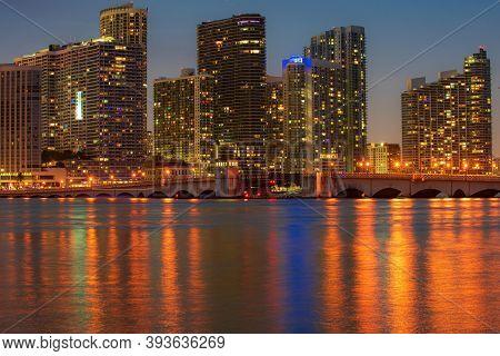 Miami City Skyline Viewed From Biscayne Bay. Miami, Florida, Usa Skyline On Biscayne Bay