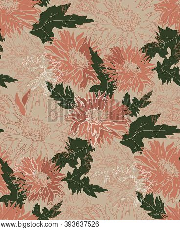 Orange Chrysanthemum In Full Bloom. Freehand Autumn Vector Seamless Pattern With Blossom Of Flowers