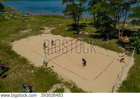Shatsk- Ukrainejuly 25, 2020: Undefined Players In Action During The Hellenic Championship Beach Vol