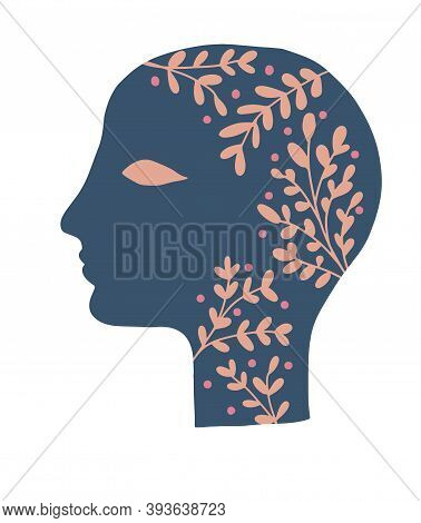 Simple Vector Illustration With Floral Woman Head Isolated On A White Background. Symbol Of Creative