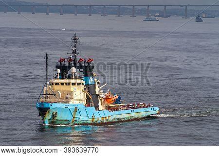 Rio De Janeiro, Brazil - December 22, 2008: Closeup Of Blue-yellow Maersk Rover Oil Industry Service