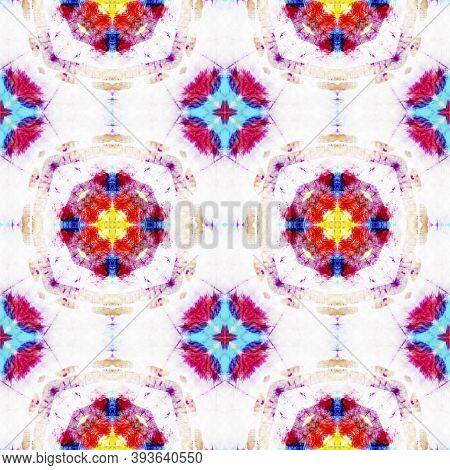 Tribal Boho Pattern. Yellow, Blue And White Seamless Texture. Repeat Tie Dye Rapport. Ikat Asian Pri