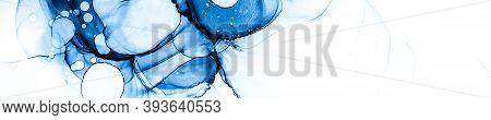 Modern Invitation. Splashing Swirl. Alcohol Ink Design. Indigo Modern Invitation. Watercolour Paint.