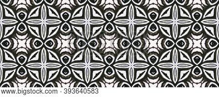 Tibetan Fabric. Repeat Tie Dye Rapport. Ikat Asian Print. Abstract Batik Print. Black And White  Mon