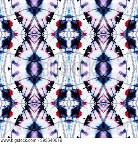 Geometric Rug Pattern. Blue And White Seamless Texture. Abstract Batik Print. Seamless Tie Dye Ornam