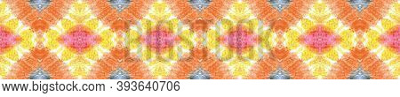 Tie Dye Seamless Pattern.  Asian Backdrop.  Orange, Pink And Blue Textile Print. Colorful Natural Et