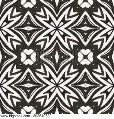 Boho Watercolor Pattern. Abstract Kaleidoscope Design. Repeat Tie Dye Illustration. Ikat Indonesian
