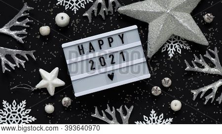 Concept Of New Year Banner.white Scoreboard With Text Lettering New Year 2021 Among New Year's White