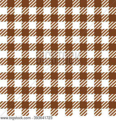 Brown White Gingham Lumberjack Buffalo Tartan Checkered Plaid Seamless Pattern. Texture For Fabric,