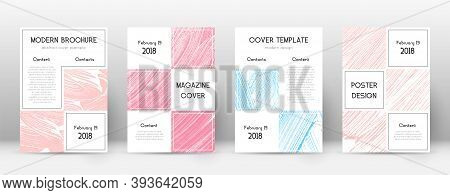 Cover Page Design Template. Business Brochure Layout. Bizarre Trendy Abstract Cover Page. Pink And B