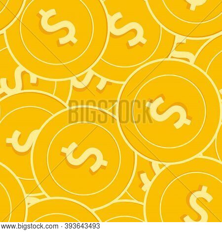 American Dollar Coins Seamless Pattern. Favorable Scattered Usd Coins. Big Win Or Success Concept. U