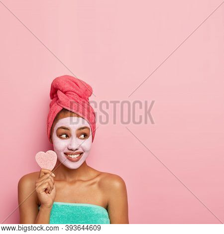 Pretty Young Dark Skinned Model Has Well Cared Skin, Wears Facial Mask For Reducing Dark Dotes And B