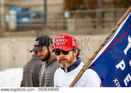 Helena, Montana / Nov 7, 2020: Pro-trump Supporter Protesting At 'stop The Steal