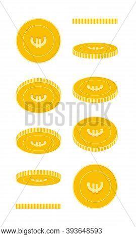 European Union Euro Coins Set, Animation Ready. Eur Yellow Coins Rotation. Europe Metal Money In Dif