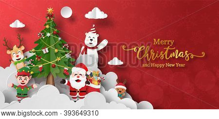 Merry Christmas And Happy New Year, Christmas Banner Postcard Of Santa Claus And Friends With Christ