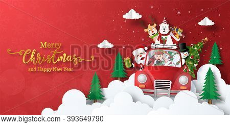 Merry Christmas And Happy New Year, Christmas Banner Postcard Of Santa Claus And Friends In A Christ