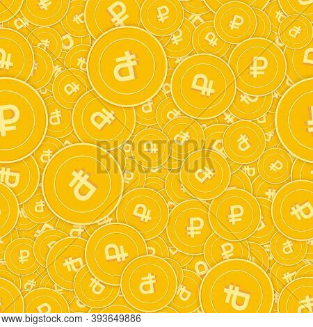 Russian Ruble Coins Seamless Pattern. Ecstatic Scattered Rub Coins. Big Win Or Success Concept. Russ