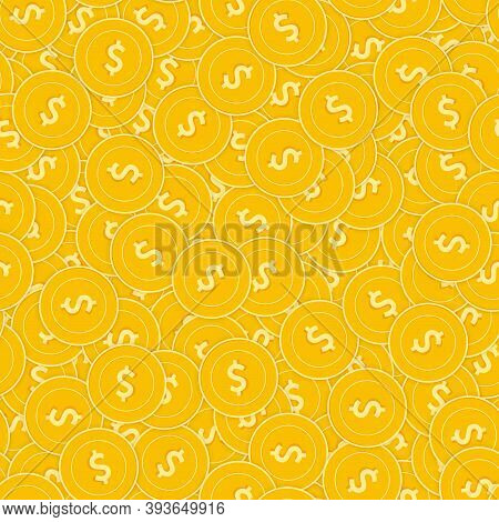 American Dollar Coins Seamless Pattern. Glamorous Scattered Usd Coins. Big Win Or Success Concept. U