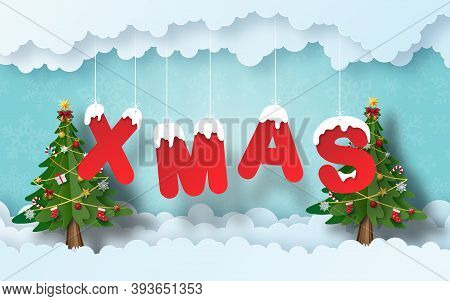 Christmas Banner Background, Origami Paper Art Of Christmas Tree With Xmas Word, Merry Christmas And