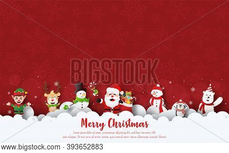 Merry Christmas And Happy New Year, Christmas Banner Postcard Of Christmas Party With Santa Claus An