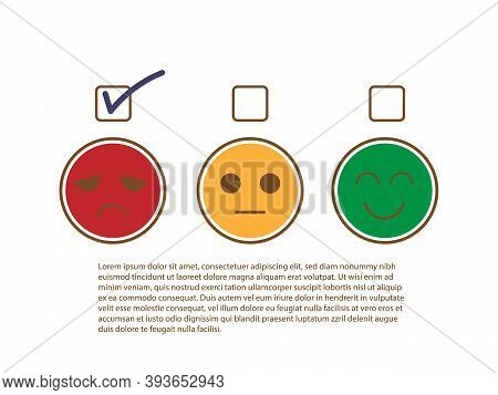 Tick Sign On Unhappy And Moody Face To Show Bad Feedback Rating And Negative Customer Service Review