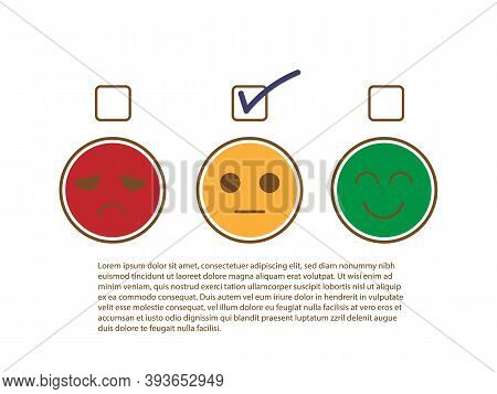 Tick Sign On Moderate Or Fairly Face To Show Moderately Feedback Rating Of Customer Service Review,