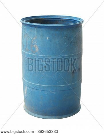 Plastic Chemical Barrel Recycle Bin (with Clipping Path) Isolated On White Background