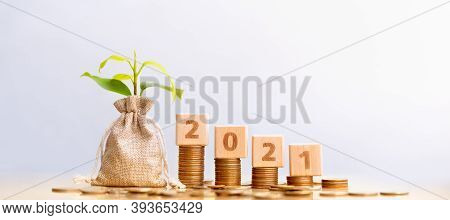 Wood block 2021 and Coins in sack with small plant tree. Pension fund, 401K, Passive income. Investm