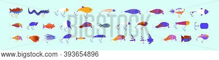 Set Of Fishing Lure. Cartoon Icon Design Template With Various Models. Modern Vector Illustration Is