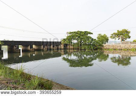 Kerala River Bridge Photography With Tree On Other Side From Kadamakkudy, Ernakulam, Kochi, Kerala,