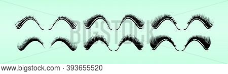 Set Of Eyelash Extension. Cartoon Icon Design Templates With Various Models. Modern Vector Illustrat