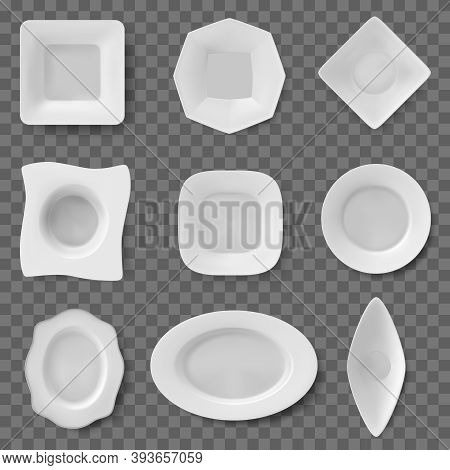 Realistic Food Dish. Plate Dish, Ceramic Tableware, Restaurant And Household Kitchenware, Dishes And