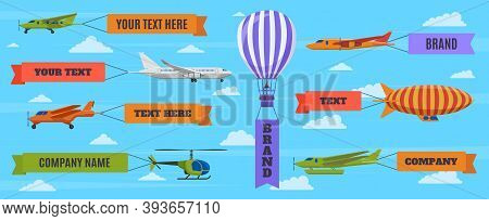 Airplane With Banners. Planes, Biplane, Hot Air Balloon And Airship With Advertising Banners. Flying