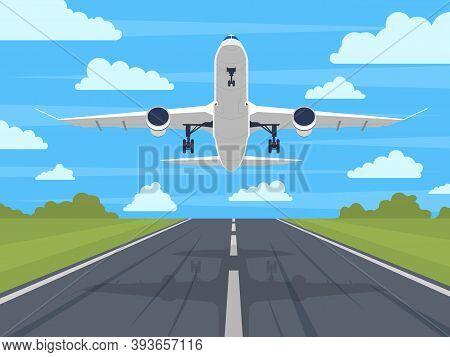 Airplane Runway. Landing Or Taking Off Plane, Passenger Airplane In Blue Sky. Airport Runway Travel