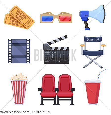 Movie Theatre Elements. Film Production And Cinema Industry, Tickets, 3d Glasses, Popcorn And Movie