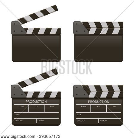 Movie Clap Board. Film Open And Close Clappers, Film Production Clapperboard. Cinema Clapper Boards