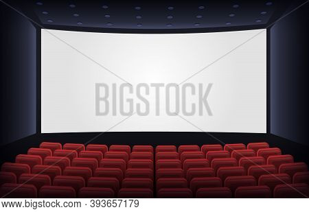Empty Cinema Theatre. Film Presentation Scene With Red Chairs And White Empty Screen. Movie Theatre
