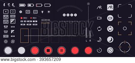 Smartphone Camera Icons. Mobile Phone Viewfinder Interface Elements, Flash, Quality, Rec Time, And B