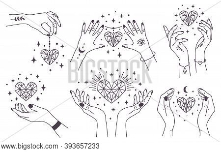 Mystical Crystal Hearts. Magical Hands Keep Crystal Hearts, Spiritual Witchcraft Arms With Gems. Mag