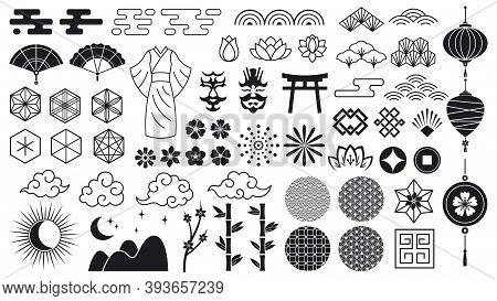 Asian Oriental Elements. Japanese Or Chinese Flowers, Ornaments, Clouds And Lanterns, Asian Traditio