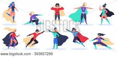 Female Superheroes. Superwoman Powerful Characters, Flying Super Girls In Superwoman Cloak Costume,