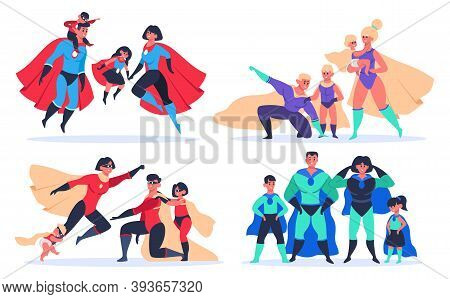 Superhero Families. Wonder Dad, Mom And Kids, Superheroes Characters In Superhero Mask And Cloak Cos