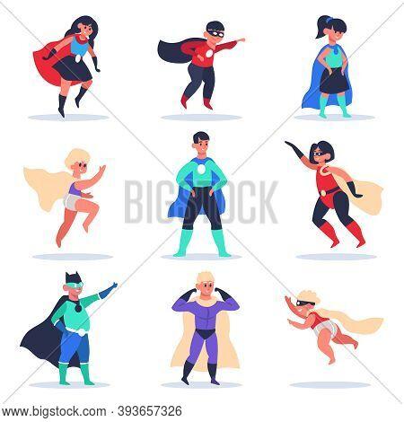 Superhero Kids. Boys And Girls Superhero Characters, Wonder Children In Colorful Superhero Costumes