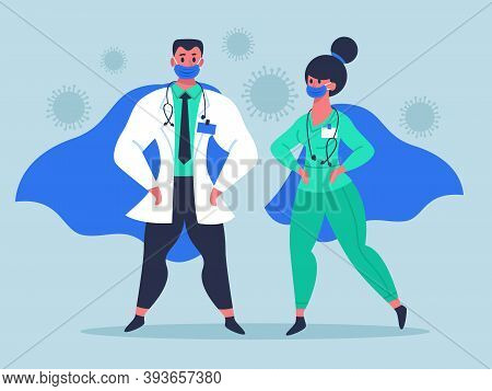 Doctor Superheroes. Super Doctor Characters In Medical Masks And Waving Cloaks, Female And Male Doct