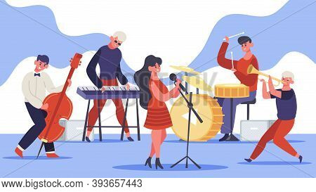 Jazz Band Concert. Music Band Musicians Singing And Playing Guitar And Drums And Bass, Modern Jazz T