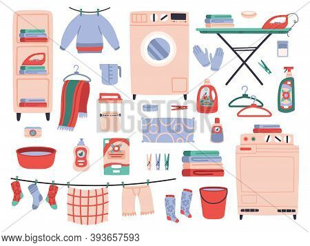 Home Laundry. Clean Laundry Clothes, Washing Machine, Household Chemistry Cleaning, Ironing Board An