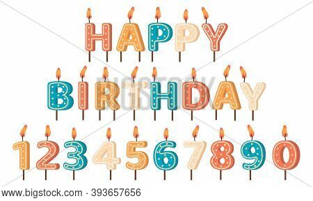 Happy Birthday Candles. Birthday Party Letters And Numbers Wax Candles, Anniversary Holiday Cute Bir