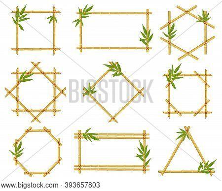 Bamboo Cartoon Frames. Steam Frame, Bamboo Stalks With Leaves, Asian Bamboo Sticks Wooden Borders Ve