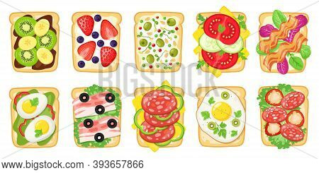 Tasty Breakfast Toasts. Fried Bread With Eggs, Avocado, Cheese, Fish And Fruits, Healthy Delicious S
